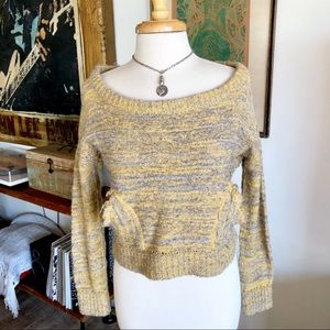 Free People chunky yellow sweater Sz s